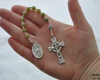 Green Connemara Marble St. Patrick/St. Bridget One-Decade Rosary With Celtic Knot Our Father Bead and Celtic Crucifix