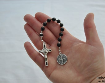 St. Benedict One-Decade Rosary With Obsidian Beads and Black St. Benedict Crucifix
