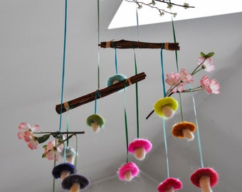 Mess of Mushrooms Mobile: Needle Felted Wool Mushrooms & Silk Flowers Mobile
