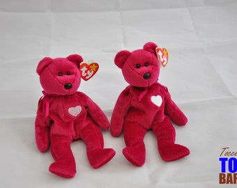 Cute Vintage 1998 Ty Beanie Baby Valentina the Magenta with White Heart Bear