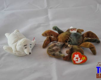 Sea Shore Seal Set: Vintage Ty 1996 Seamore the Seal Beanie Baby and Teenie Beanie