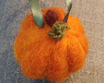 Cute Pumpkin Needle Felted Wool Christmas Ornament with a Rustic Green Hanging Ribbon