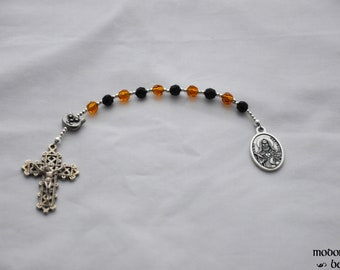 Saint Gertrude Patron Saint of Cats One-Decade Kids' Rosary With Cat Face Our Father Bead and Amber & Black Crystal Beads