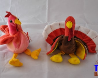 Vintage 1996 Ty Beanie Baby Birds: Strut the Rooster and Gobbles the Turkey and Doodle the Rooster