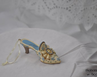 Beautiful Blue & White Victorian Dress Shoe Ornament