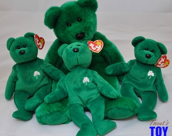Erin Bears Vintage 1997 Ty Geographic Irish Beanie Baby Bears