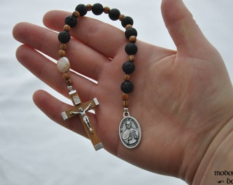 Hawaiian St. Damien of Molokai One-Decade Rosary With Lava Beads, Palm Wood Spacers, and a Flattened Freshwater Pearl