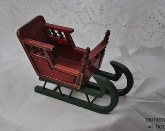 Red & Green Wooden Sled Christmas Decoration