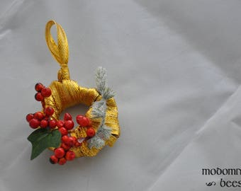Christmas Ornament or Wreath: 2-Inch Grapevine Covered in Gold Ribbon with Red Berries, Frosted Pine, & Ivy Leaf
