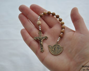 St. Hubert Patron Saint of Hunting One-Decade Rosary With Mahogany Beads, Bronze Sacred Heart Crucifix, and Bronze Horn Medal