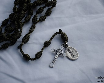 Olive Green Knotted Twine Rosary Featuring a Fancy St. Benedict Crucifix and a St. Sebastian Patron Saint Medal