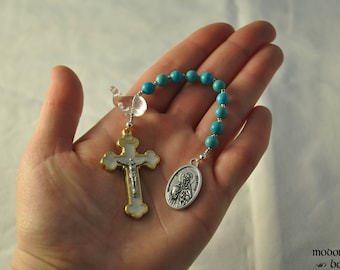 St. Brendan One-Decade Kids' Rosary With Turquoise Magnesite Beads and Whale Our Father Bead