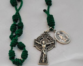Green Knotted Twine Celtic Irish Rosary:  Features a Double-Sided St. Patrick/St. Bridget Patron Saint Medal and a Celtic Crucifix