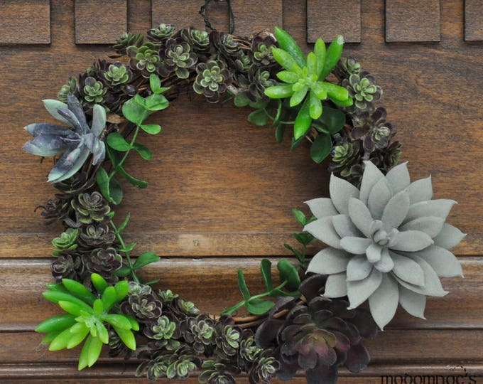 Featured listing image: Festive Succulent Wreath: 8 Inch Grapevine Wreath Featuring a Beautiful and Bountiful Bunch of Bright Succulents