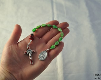 Fun St. Francis One-Decade Rosary With Ladybug Our Father Bead, Green Leaf Beads, and Red Holy Spirit Crucifix
