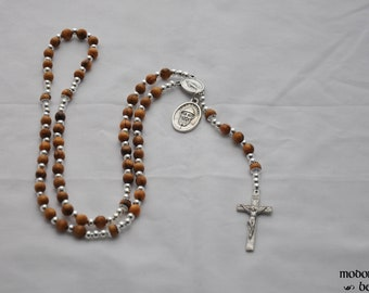 Maronite St. Charbel Rosary With Bethlehem Olive Wood Beads, Miraculous Medal Center, and Pewter Crucifix