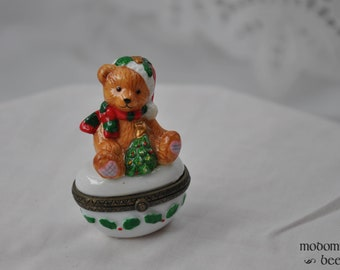 Small Porcelain Trinket Box with a Christmas Teddy Bear and Holly Designs