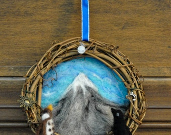 Lonely Dwarf Mountain Ringwreath: Tolkien/Hobbit Wool Art Featuring the Key to the Mountain, Jewel, a Wool Thrush & Raven, and Sun and Moon