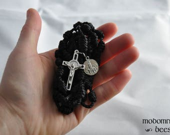 Black Knotted Twine Rosary Featuring a Matching Black Inlaid St. Benedict Medal Crucifix and a Small Our Lady of Fatima Side Medal