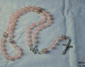 Pink Rose Quartz Rosary With Our Lady of Lourdes Rose Centerpiece and Crucifix With Rose Designs