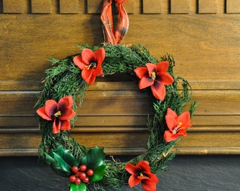 Christmas Wreath: Cedar, Holly, & Red Sage Flowers with Festive Red Plaid Ribbon