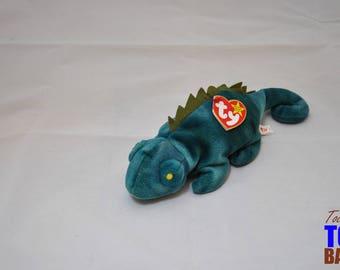 Iggy the Iguana: Vintage 1997 Ty Beanie Baby (Green Coat) and 1997 Rainbow the Iguana