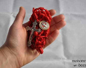Unique Red Knotted Twine Rosary Featuring a Large Liturgy Crucifix and a Gold-Rimmed Red Inlaid Large St. Benedict Medal