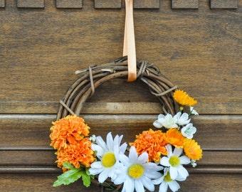 Orange and White Flowers, Carnation & Daisy Wreath