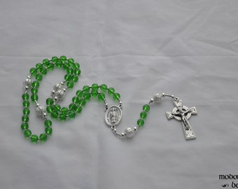 Green Glass St. Patrick Rosary With Silver Filigree Our Father Beads and Celtic Crucifix