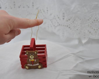 Vintage 1987 Christmas Ornament - Red Bask with Bear