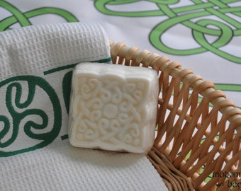 Modomnoc's Bees Celtic Knot Work Irish Square Soap - Your Choice of Shea Butter or Cocoa Butter and Scent