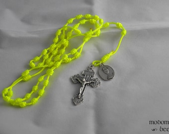 Bright Yellow First Communion Knotted Twine Rosary Featuring a Holy Eucharist and Holy Family Double-Sided Medal and a Pardon Crucifix
