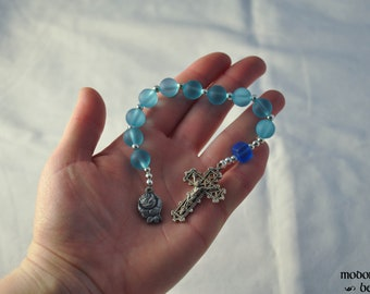 Blue and Turquoise Seaglass One-Decade Rosary With Rose Miraculous Medal and Lattice Crucifix