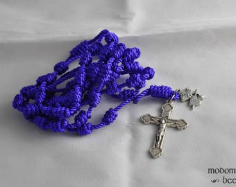Purple Knotted Twine Rosary Featuring a Sacred Heart and Immaculate Heart Medal