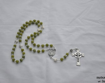 Connemara Marble St. Patrick Rosary With Celtic Knotwork Our Father Beads and Celtic Crucifix