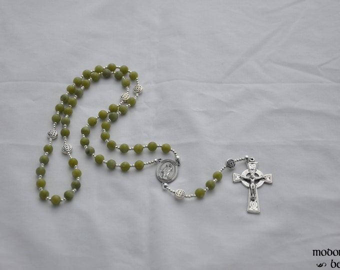 Featured listing image: Connemara Marble St. Patrick Rosary With Celtic Knotwork Our Father Beads and Celtic Crucifix