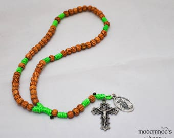 Hawaii Rosary: Palm Bead & Bright Green Twine Knot Rosary Featuring a St. Damien of Molokai Patron Saint Medal and a Lattice Style Crucifix