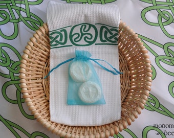 Sea Bees Gift Bag Soap Set: 2 Bees At The Beach Hibiscus Cocoa Butter Round Guest Soaps in an Ocean Blue Gift Bag