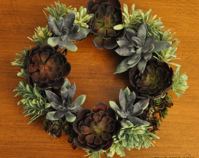 Featured listing image: Six Inch Symmetrical Succulents Wreath: Great For Any Season