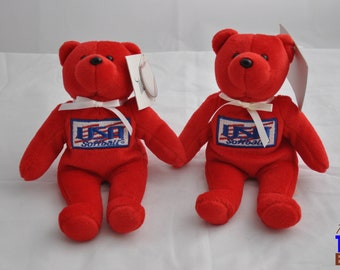 USA Softball Bear with Tag Autographed by US Olympic Softball Player Michele Smith (#32)