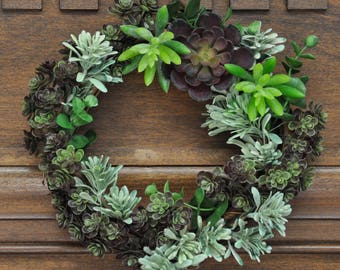 Fun Succulent Wreath: 8 Inch Grapevine Wreath Featuring a Bright & Bountiful Array of Succulents