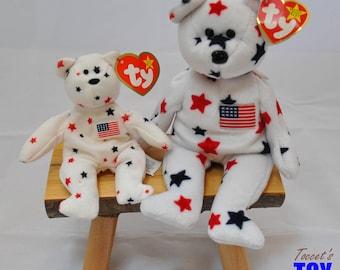 Vintage 1997 Ty Beanie Baby   Teenie Beanie Glory Bears  Red c8ca69126c6f