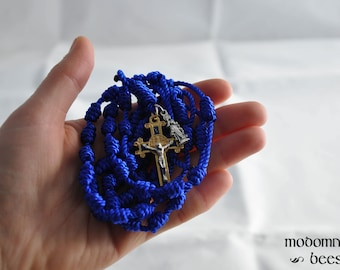 Blue Knotted Twine Immaculata Rosary: Features a Fancy Blue & Gold St. Benedict Medal Crucifix and an Immaculate Conception Figure Medal
