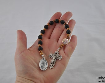 St. Damien of Molokai Hawaiian One-Decade Rosary With Lava Beads, Palm Wood, and Flattened Freshwater Pearl