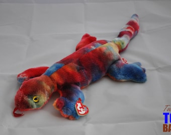 Vintage 1999 Ty Lizzy the Lizard Rainbow Beanie Buddy