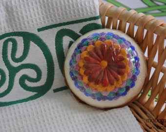 "Modomnoc's Bees Dahlia Flower ""Bee-llissimo"" Goat Milk Soap: Your Choice of Hand Painted or Plain"