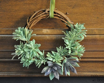 Fun 'Succulent Beard' Wreath: 6 Inch Grapevine Wreath Great for Any Season