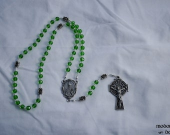 Irish Rosary: Green Glass Bead Rosary with Celtic Knot Our Father Beads, St. Patrick Sea Shell Scallop Centerpiece, and Celtic Crucifix