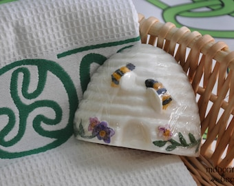 Modomnoc's Bees Hand Painted Beehive & Flowers Soap - Choose Your Favorite Scent and Soap Base