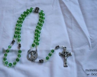 Irish Rosary: Green Glass Bead Rosary with Celtic Knot Our Father Beads, St. Patrick Knot Work Centerpiece, and Celtic Crucifix